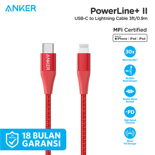 Foto Produk Kabel Charger Anker PowerLine+II USB-C To Lightning 3Ft Red - A8652 - Merah dari Anker Indonesia