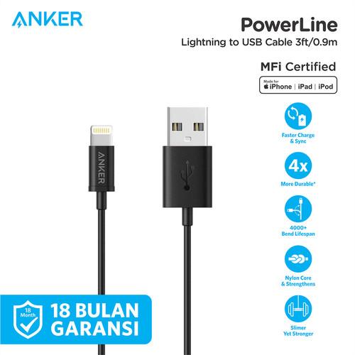 Foto Produk Kabel Charger Anker PowerLine MFI Lightning Cable 3ft Black - A7101 - Hitam dari Anker Indonesia