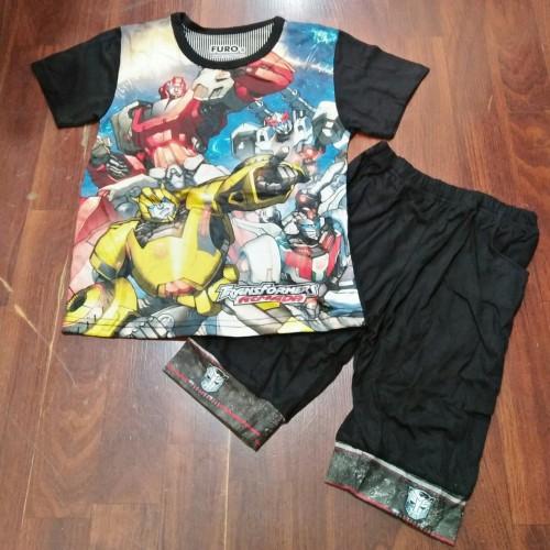 Foto Produk Transformers Baju-Kaos Stelan Anak Fullprint 3D Thai Optimus Prime - 2-3 tahun, Hitam dari Karim Cloting