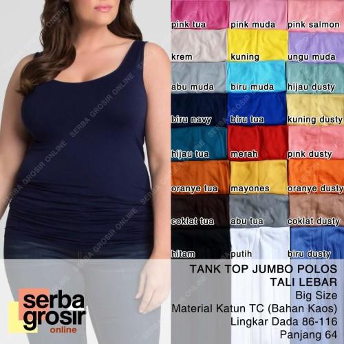 Foto Produk TANK TOP JUMBO POLOS Ukuran Besar - Tanktop Wanita Tali Lebar Big Size dari Serba Grosir OL