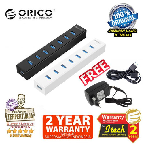 Foto Produk ORICO H7013-U3 7-Port Portable USB 3.0 HUB - Original - Hitam dari Supermassive Indonesia