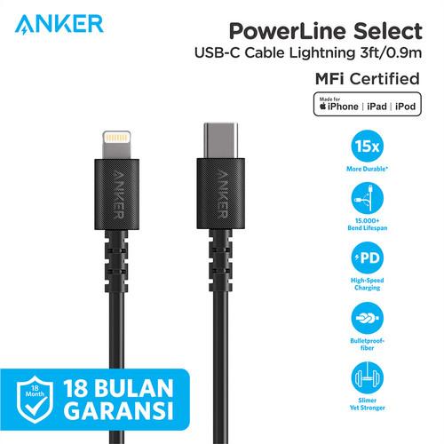 Foto Produk Kabel Charger Anker PowerLine Select C to Lightning 3Ft Black - A8612 - Hitam dari Anker Indonesia
