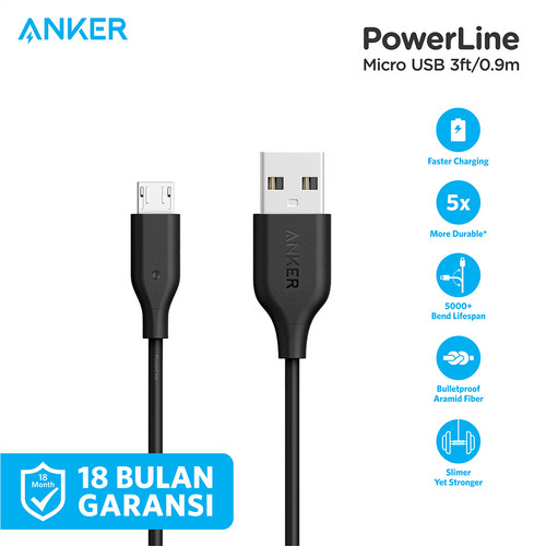 Foto Produk Kabel Charger Anker PowerLine Micro 3ft/0.9m Red - A8132 - Hitam dari Anker Indonesia