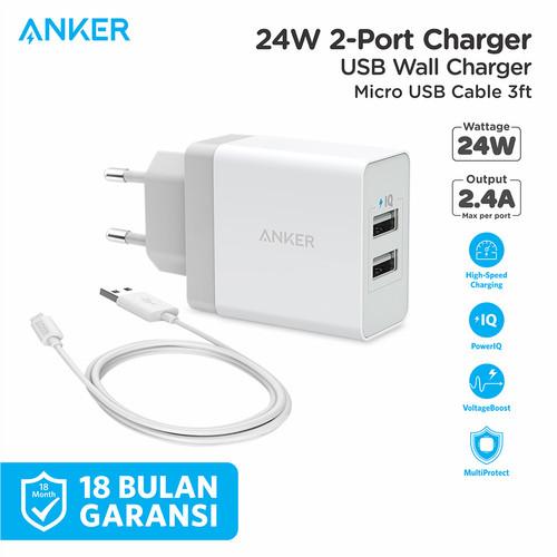 Foto Produk Wall Charger Anker PowerPort 2 & 3ft/0.9m Micro USB Black - B2021 - Putih dari Anker Indonesia