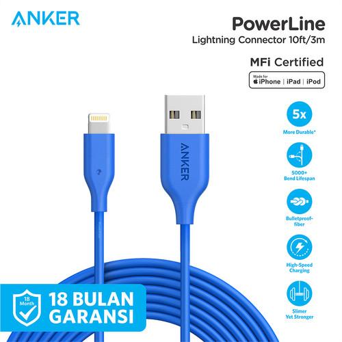 Foto Produk Kabel Charger Anker PowerLine Lightning 10Ft Blue - A8113 - Biru dari Anker Indonesia