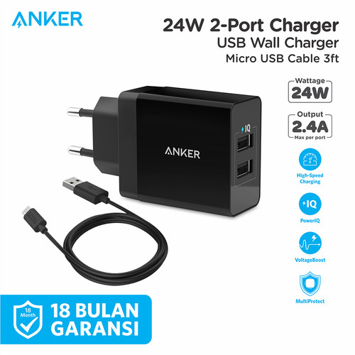 Foto Produk Wall Charger Anker PowerPort 2 & 3ft/0.9m Micro USB Black - B2021 - Hitam dari Anker Indonesia