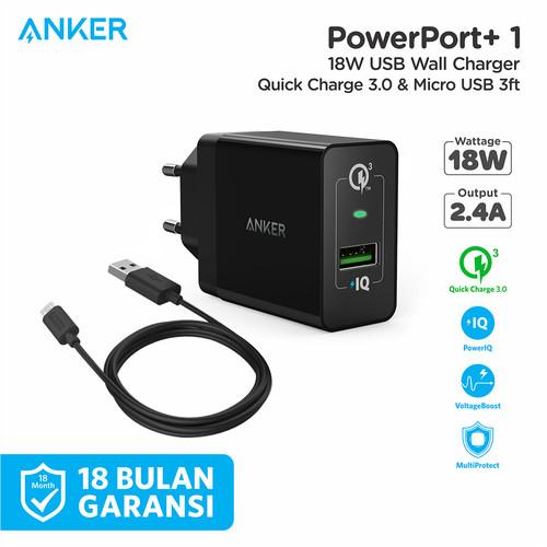 Foto Produk Wall Charger Anker PowerPort+ 1 QC 3.0 & Kabel Micro 3Ft Black - B2013 - Hitam dari Anker Indonesia