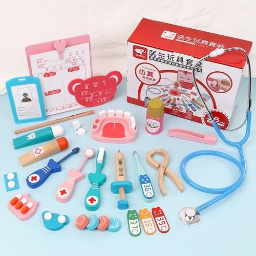 Foto Produk MB198 Mainan Anak Doctor Set Wooden Gigi Kayu Mainan Perempuan Dokter dari Mmtoys Indonesia