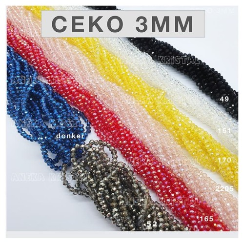 Foto Produk Ceko 3mm Warna ( Manik Labu Bulat Merah Putih Kristal crystal beads) - Putih 161 dari Aneka Kristal