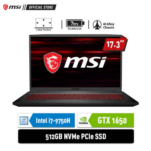 """Foto Produk MSI GF75 9SC [9S7-17F212-609] i7-9750H 8GB 512GB GTX1650 4GB 17.3"""" dari MSI Official Store"""