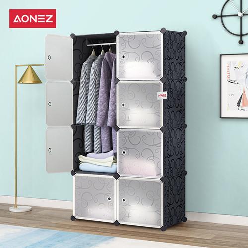 Foto Produk Aonez lemari plastik 8 muka 5 slot 1 gantungan baju - Hitam, All Size dari AONEZ Official Store