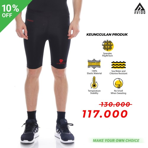 Foto Produk Tiento Baselayer RashGuard Compression Short Pants Black Red Original - Hitam, L dari Avido Store
