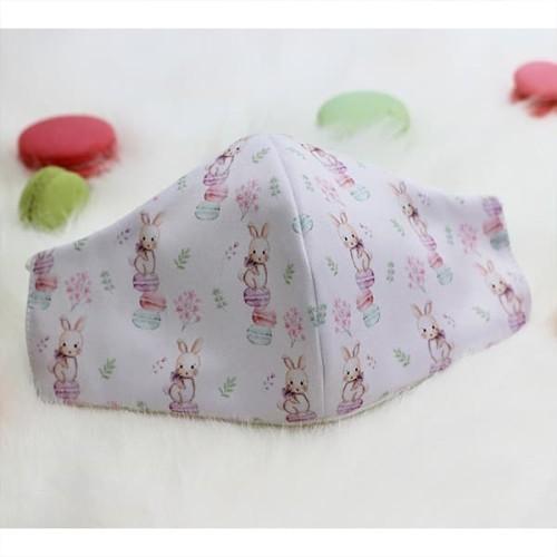 Foto Produk Masker kain katun bamboo 3ply motif Bunny macaroon cream size anak dari mabelleid