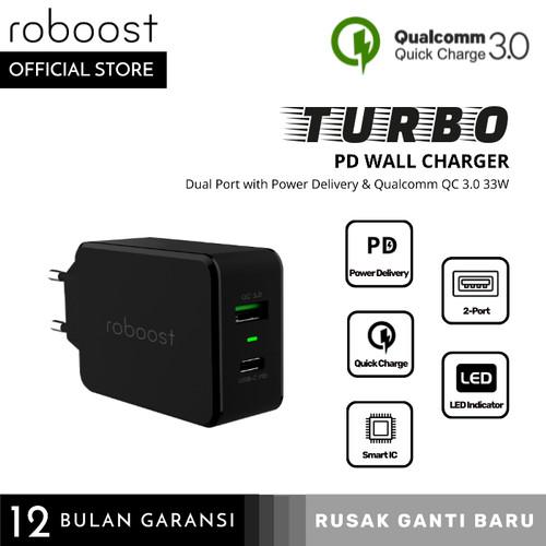 Foto Produk roboost Dual Port USB Turbo Charger Fast Charging Type C PD Max 33W dari roboost Official Store