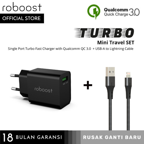 Foto Produk roboost Turbo Mini Travel Set Fast Charger for iPhone 7 8 10 11 dari roboost Official Store