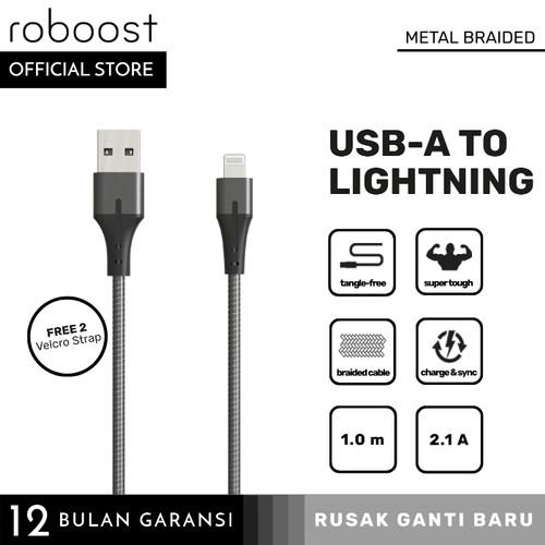 Foto Produk roboost Kabel Data iPhone 5s 6 6s 7 8 Plus Fast Charging Metal Braided dari roboost Official Store