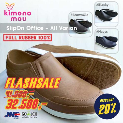 Foto Produk Sepatu Pria Cowok Kerja Kantor - SlipOn Office - Karet - New ATT - Navys, 38 dari Kimono Mou