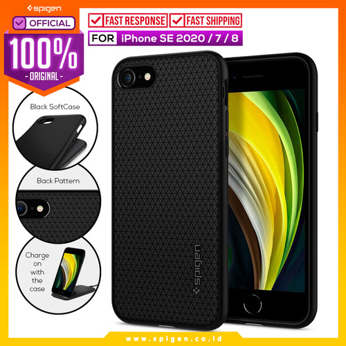 Foto Produk Case iPhone SE 2020 / 8 / 7 Spigen Liquid Air Silicone Softcase Casing - Black dari Spigen Official