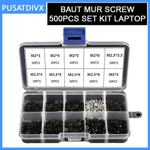 Foto Produk Baut Mur Screw 500pcs Set kit Laptop Notebook Netbook Screws Obeng dari pusatdivx