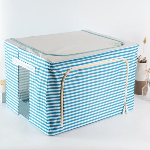 Foto Produk Foldable Multifunction Storage Box Kotak Simpan Baju Bed Cover Seprai - Biru Garis dari Arami Lifestyle