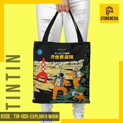 Foto Produk Tas Totebag Tintin Di Bulan Explorer On The Moon Japan - TIN-005 dari storenesiacom