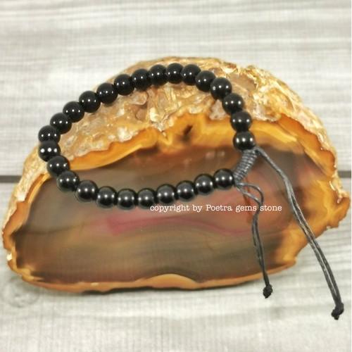 Foto Produk GELANG BATU KESEHATAN NATURAL STONE BLUSTIN BLACK ONYX PRIA WANITA - Black Onyx 2 dari Poetra Gems Stone