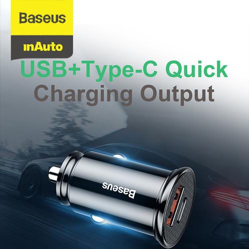 Foto Produk CAR CHARGER BASEUS 30W TYPE-C PD3.0+USB QUICK CHARGE 4.0 - Hitam dari Baseus Auto Life