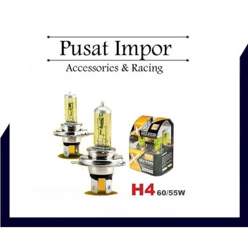 Foto Produk MICHIBA Lampu/ Bohlam MICHIBA H4 55/60 watt yellow/ white / halogen - Kuning dari Pusat Impor