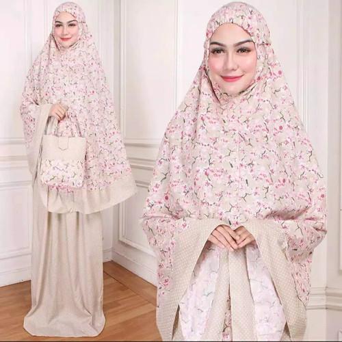 Foto Produk Syaza Mukena Rayon Bali Dewasa Jumbo Siti Khadijah Pasteleena Dalanova - CREAM dari Mak_Haji