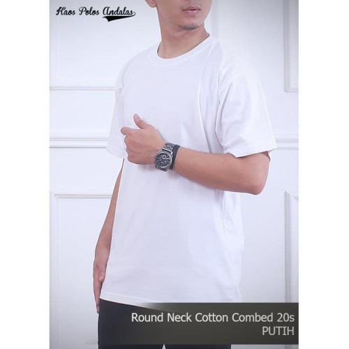 Foto Produk Kaos Polos Cotton Combed 20s Putih - S dari Kaos Polos Andalas