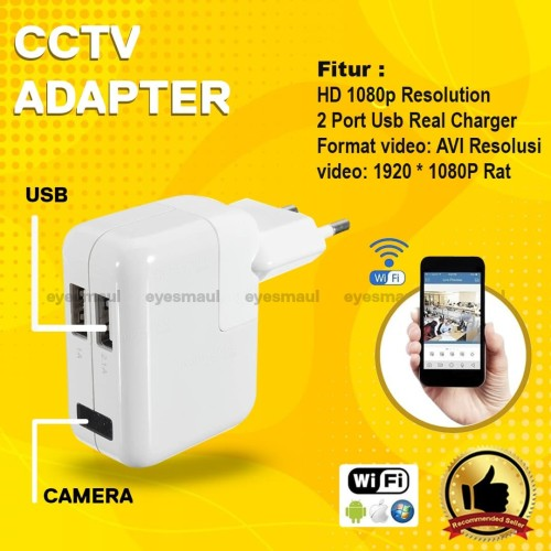 Foto Produk Wifi Wireless spy camera USB charger - cctv adapter - cctv charger dari Eyesmaul