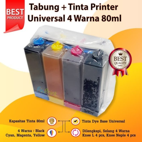 Foto Produk Tabung + Tinta Printer Universal 4 Warna 80ml, Ink Tank Set 4 Color dari FixPrint Store