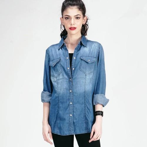 Foto Produk KEMEJA CHAMBRAY PRINCESS SHIRT ( 24373L2ML ) - LOGO JEANS - Biru, S dari Logo Jeans