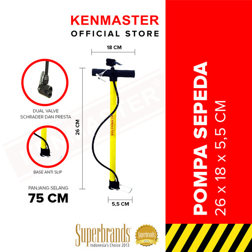 Foto Produk Kenmaster Pompa Sepeda Kuning KM02 dari Kenmaster Official