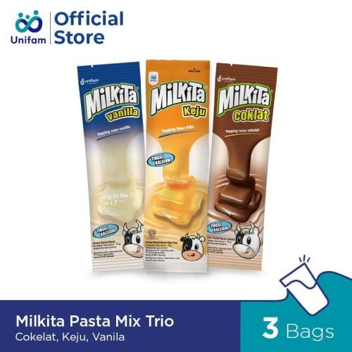 Foto Produk Milkita Pasta Mix Trio Cokelat, Keju, Vanila dari Unifam Official Store