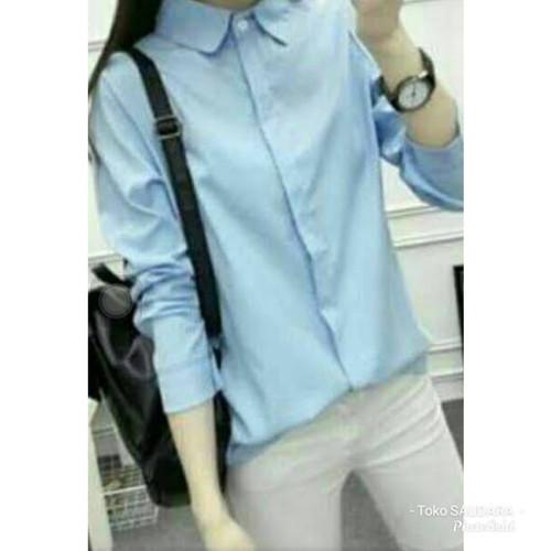 Foto Produk kemeja formal wanita lengan panjang biru muda(telor asin) - Biru Muda, Allsize dari tokosaudara