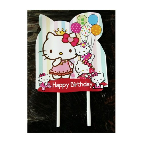 Foto Produk topper tusukan hiasan kue cake tart ulang tahun karakter hello kitty dari reanolshoop