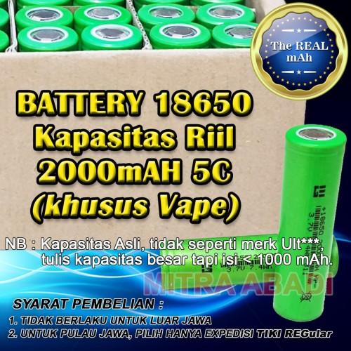 Foto Produk Baterai/Batre/Battery 18650 Kapasitas Riil 2000 mAh 5C (Khusus VAPE) dari Toko Mitra Abadi