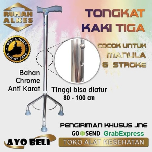Foto Produk Kruk Tongkat kaki 3 (Cocok untuk stroke atau manula) dari Rumah Alkes Kita