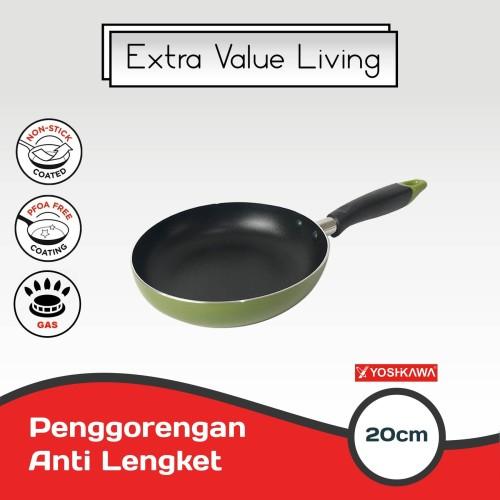 Foto Produk YOSHIKAWA Teflon Penggorengan 20 CM Frying Pan EVL-CL-12-10 Hijau dari Extra Value Living