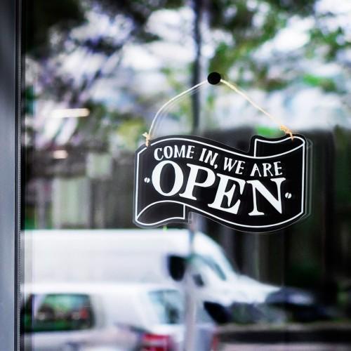 Foto Produk Uawu Hitam | sign tanda open closed buka tutup toko gantung pintu unik dari Mendekor
