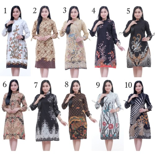 Foto Produk Baju Atasan Wanita / Tunik Double Bird Brown / Blous Batik Kantor dari Batik Ifa