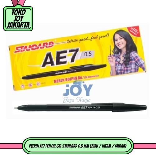 Foto Produk Pulpen AE7 Pen Oil Gel STANDARD 0.5 mm (Biru / Hitam / Merah) - Hitam dari Toko Joy Jakarta