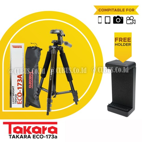 Foto Produk TAKARA ECO-173A Lightweight Tripod With Pouch/Tas/Bag, Holder Satoo dari Cubus_Co_ID
