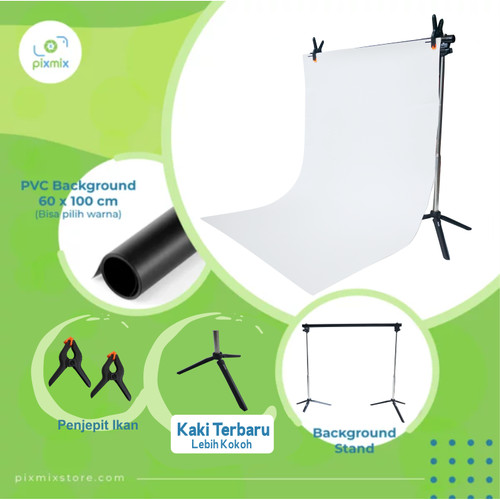 Foto Produk PAKET MINI BACKGROUND STAND - PVC BACKGROUND 60 CM + BACKGROUND STAND - Tipe BARU dari pixmix