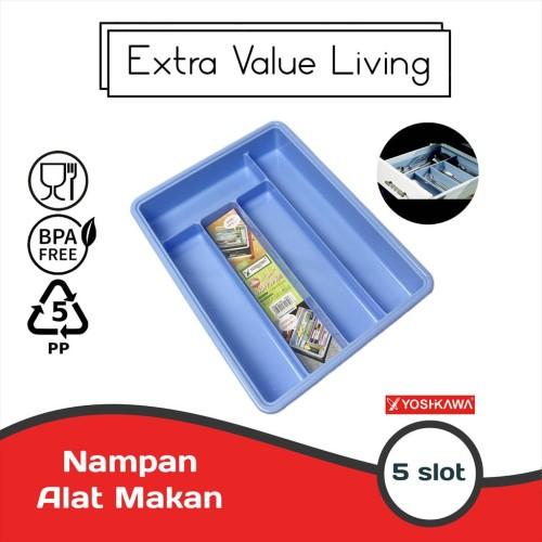 Foto Produk YOSHIKAWA Nampan / Baki Sendok Garpu 5 Sekat Cutlery Tray ST-01 - Biru dari Extra Value Living