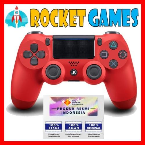 Foto Produk STIK / STICK / CONTROLLER PS4 SLIM NEW MODEL ORI (RED MAGMA) dari Rocket games