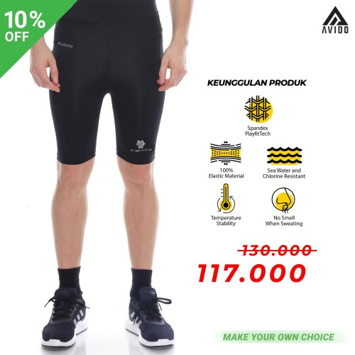 Foto Produk Tiento Baselayer Manset Compression Short Pants Black Silver Original - Hitam, L dari Avido Store