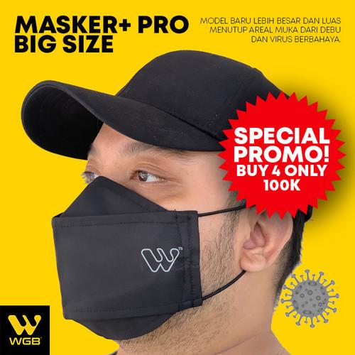 Foto Produk Masker+ PRO BIG SIZE Bahan 3 Lapis Tebal Earloop Korea Anti Virus WGB - Hitam dari WGB