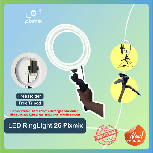 """Foto Produk LED RingLight 10"""" bicolour + dimmer - ringlight vlogger + Tripod dari pixmix"""